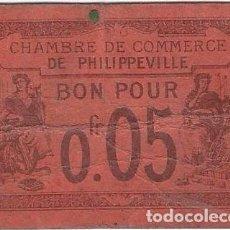 Billetes locales: ARGELIA - ALGERIA 5 CÉNTIMES 7-10-1915 PHILIPPEVILLE. Lote 241819850