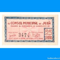 Billetes locales: JUIÀ (GIRONA) 25 CTS PLANCHA RARO. Lote 243806745