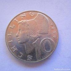 Billetes locales: AUSTRIA , 10 SCHILLING DE PLATA MUY ANTIGUOS . AÑO 1959 . SIN CIRCULAR. Lote 244481735