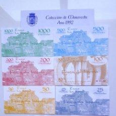 Billetes locales: LOTE COMPLETO FORMADO POR LOS 7 BILLETES EMITIDOS PRIMERA FESTA DA ISTORIA RIBADAVIA **OURENSE**1992. Lote 244583265