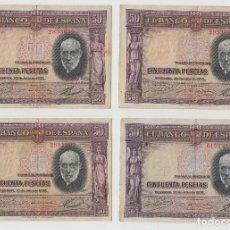 Billetes locales: LOTE 4 BILLETES DE 50 CINCUENTA PESETAS, AÑO 1935, NÚMEROS CORRELATIVOS. Lote 244602015