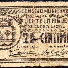 Billetes locales: FUENTE LA HIGUERA (VALENCIA) - 25 CENTIMOS 1937 - EMISION GUERRA CIVIL. Lote 244863565