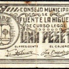 Billetes locales: FUENTE LA HIGUERA (VALENCIA) - 1 PESETA 1937 - EMISION GUERRA CIVIL. Lote 244864230