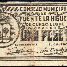 Billetes locales: FUENTE LA HIGUERA (VALENCIA) - 1 PESETA 1937 - EMISION GUERRA CIVIL. Lote 244864295