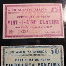 Billetes locales: 2 BILLETES AJUNTAMENT DE TARREGA. 25 I 50 CTS.GUERRA CIVIL. Lote 244903695
