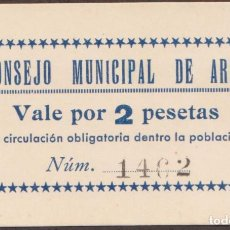Billetes locales: BILLETES LOCALES - CONSEJO MUNICIPAL DE AREN -HUESCA - 2 PESETAS - S/F - T-52 (SC). Lote 245156890