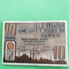 Billetes locales: UN. BILLETE DE 10 PESETAS COOPERATIVA UNIÓ DE COOPERADORS IGUALADA DE 1938. USADO. Lote 245234540