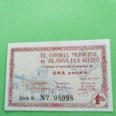 Billetes locales: UN BILLETE DE UNA PESETA DE EL CONSELL MUNICIPAL DE VIANOVA Y LA GELTRU. BIEN CONSERVADO. Lote 245237555