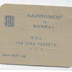 Billetes locales: 1 PESETA DEL AYUNTAMENT DE SARRAL SC RRR. Lote 245249925