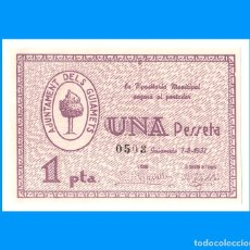 Billetes locales: ELS GUIAMETS (TARRAGONA) SERIE DE 3 BILLETES SC RAROS 1 PTA 50 Y 25 CTS. Lote 245379315