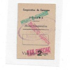 Billetes locales: 2 PESETAS VALE DE PAS DE LA COOPERATIVA DE BOBERA. Lote 246188515