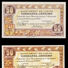 Billetes locales: 2 BILLETES DE LLEIDA 50 CTMS. ORIGINAL SIN CIRCULAR Y COPIA (FACSIMIL). Lote 246333515