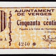 Billetes locales: VERGES (GERONA) 50 CENTIMOS - SIN CIRCULAR. Lote 246337745