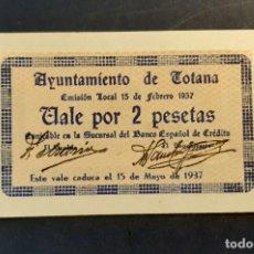 Billetes locales: BILLETE LOCAL 2 PESETAS TOTANA (MURCIA). Lote 246339640
