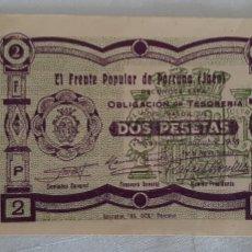 Billetes locales: BILLETE FRENTE POPULAR PORCUNA JAÉN. Lote 246487280