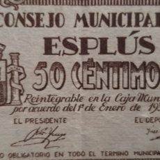 Billetes locales: BILLETE CONSEJO MUNICIPAL ESPLUS HUESCA. Lote 246488550