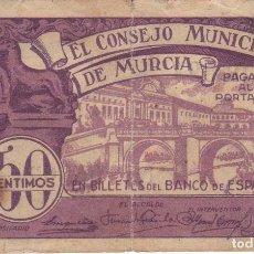 Billetes locales: BILLETE DE 50 CENTIMOS DEL CONSEJO MUNICIPAL DE MURCIA DEL AÑO 1937. Lote 246574165