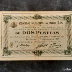Billetes locales: BILLETE LOCAL. 2 PESETAS ESTOPIÑAN. Lote 247734915