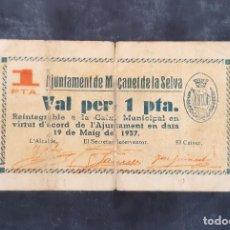 Billetes locales: BILLETE LOCAL. 1 PESETA MACANET DE LA SELVA. Lote 247736595