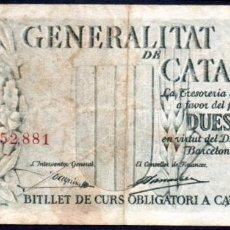 Billetes locales: GENERALITAT (GENERALIDAD) DE CATALUÑA - 2,50 PESETAS 1936 - NUMERACION ROJA - EMISION GUERRA CIVIL. Lote 248191470