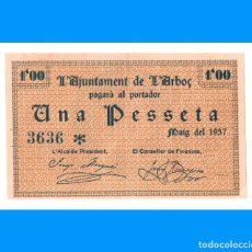 Billetes locales: L'ARBOÇ (TARRAGONA) SERIE DE 2 BILLETES 1 PTA EBC+ Y 25 CTS SC-. Lote 249465045