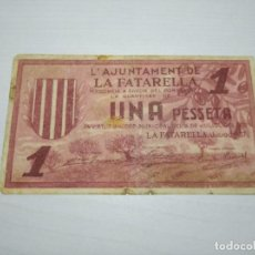 Billetes locales: BILLETE 1 PESSETA. LA FATARELLA. JULIOL 1937. 1 PESETA. TURRÓ 1156. Lote 249590685