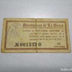 Billetes locales: BILLETE 25 CÈNTIMS. LA SÉNIA. JULIOL 1937. 25 CÉNTIMOS. TURRÓ 2700. Lote 249591115
