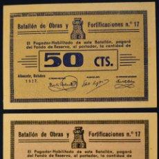 Billetes locales: RGH5891-92 VALES DEL BATALLÓN DE OBRAS Y FORTIFICACIONES Nº17 - 50 CTS Y 1 PTA. Lote 252060265