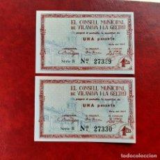 Billetes locales: BILLETE LOCAL PAREJA CORRELATIVA 1 PESETA VILANOVA Y LA GELTRÚ. Lote 252491845