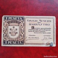 Billetes locales: BILLETE LOCAL 1 PESETA BARBASTRO. Lote 252492375