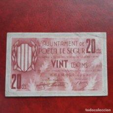 Billetes locales: BILLETE LOCAL 20 CÉNTIMOS POBLA DE SEGUR. Lote 252493565