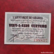 Billetes locales: BILLETE LOCAL 25 CÉNTIMOS SABADELL. Lote 252494055