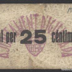 Billetes locales: J.B. BILLETE DE IGUALADA , 25 CENTIMOS , MONTANER 780D , TURRÓ 1257E. Lote 252920260