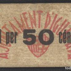 Billetes locales: J.B. BILLETE DE IGUALADA , 50 CENTIMOS , ED.780E , T.1256E. Lote 252921090