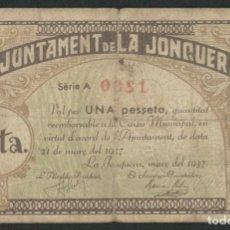 Billetes locales: J.B. BILLETE LA JONQUERA , 1 PESETA , MONTANER: 800 C , TURRÓ: 1273. Lote 252923310