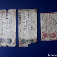 Billetes locales: 5, 50 Y 100 PESETAS. 1936. BILBAO. GUERRA CIVIL. BANCO DE ESPAÑA. 3 BILLETES. Lote 253171015