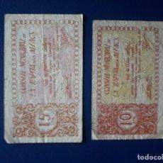 Billetes locales: 10 Y 15 CENTIMOS. LA RAPITA DELS ALFACS. 1937. GUERRA CIVIL. ESPAÑA. 2 BILLETES. Lote 253182485
