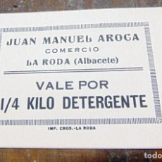 Billetes locales: ANTIGUO VALE, LA RODA ALBACETE, VALE DETERGENTE, ANTIGUO COLMADO. Lote 253708705