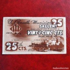 Billetes locales: BILLETE LOCAL. 25 CÉNTIMOS SALLENT. Lote 253819670