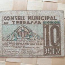 Billets locaux: BILLETE AYUNTAMIENTO TERRASSA. GUERRA CIVIL.. Lote 253863225