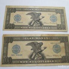 Billetes locales: LOTE DE 2 BILLETE DE PLAY MONEY. Lote 254103630
