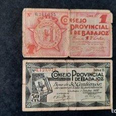 Billets locaux: 1 PESETA 1937 Y 50 CÉNTIMOS DE BADAJOZ (CASTUERA), GUERRA CIVIL. Lote 254444650