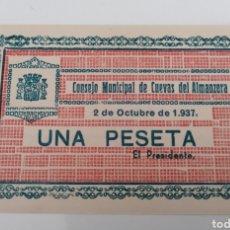 Billetes locales: CUEVAS DEL ALMANZORA. ALMERÍA. 1937. 1 PESETA.. Lote 254589675