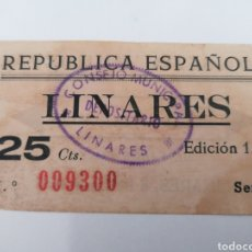 Billetes locales: LINARES. JAÉN. 1937. 25 CÉNTIMOS. Lote 254592615