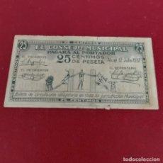Billetes locales: BILLETE LOCAL GUERRA CIVIL 25 CENTIMOS , ALCOY ,ALICANTE ,1937. Lote 254740175