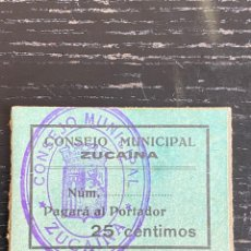Billetes locales: ZUCAINA CASTELLON 25 CTS. Lote 255391855