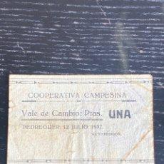 Billetes locales: PEDREGUER 1 PESETA 1937. ALICANTE. Lote 255394335