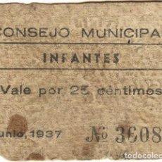 Billetes locales: BILLETE LOCAL INFANTES (CIUDAD REAL) 25 CÉNTIMOS. Lote 255591615