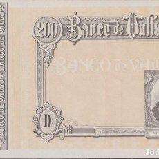 Billetes locales: BILLETES LOCALES - BANCO DE VALLS - TARRAGONA - 200 PESETAS (SC-). Lote 256113155