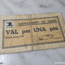 Billetes locales: BILLETE LOCAL DE FOIXÁ DE 1 PESETA (AÑO 1937 - GUERRA CIVIL ESPAÑOLA) CATALUÑA / CATALUNYA. Lote 257319880